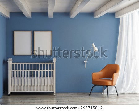 Baby room, mock up poster on blue wall, 3d illustration - stock photo
