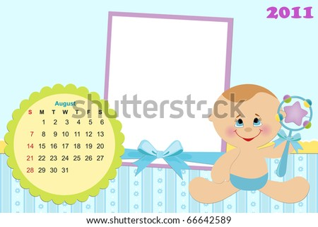 Baby's monthly calendar for august 2011 with photo frames