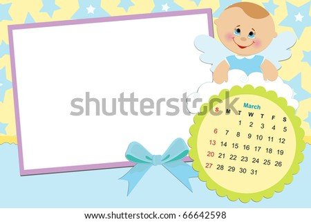 Baby's monthly calendar for march 2011 with photo frames