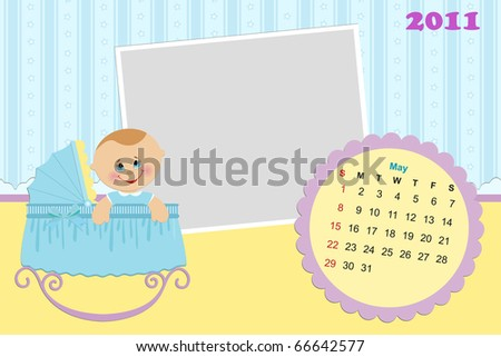 Baby's monthly calendar for may 2011 with photo frames
