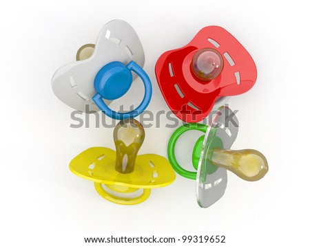 Baby's pacifiers on white isolated background. 3d