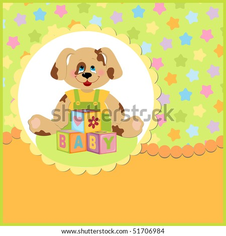 Baby's postcard with doggy and letter cubes
