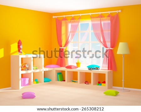 Baby's room with shelves with toys. 3d illustration. - stock photo