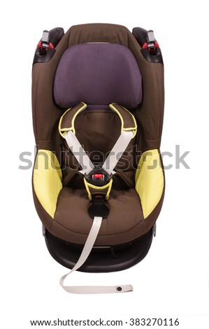 Baby safety car seat isolated on the white background