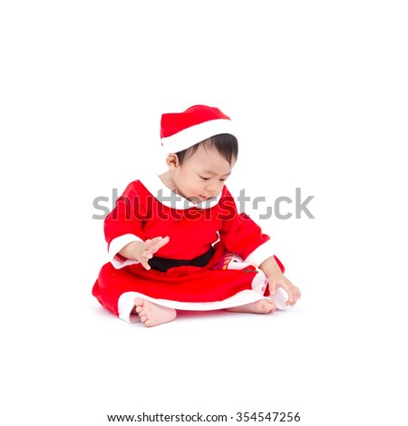 Baby santa on white background