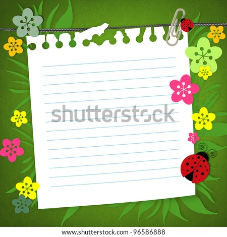 baby scrapbook card with note paper - stock photo
