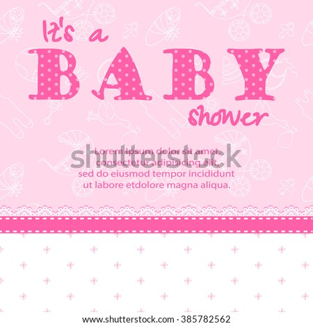 Baby shower card for a girl. Baby Shower invitation template. Baby shower label for a girl. Invitation card for Baby Shower  party.Baby shower card JPG. It's a Baby Shower card template in pink color. - stock photo