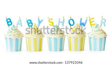 Baby shower cupcakes - stock photo