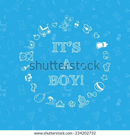 baby shower design over blue background with seamless pattern. It's a boy - stock photo