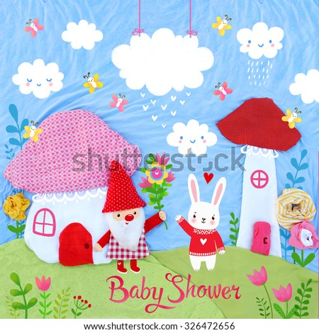 Baby shower design with place for text. Creative art photo of a gnome and rabbit. - stock photo