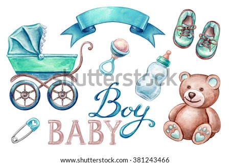 baby shower isolated design elements, watercolor illustration, newborn boy products - stock photo