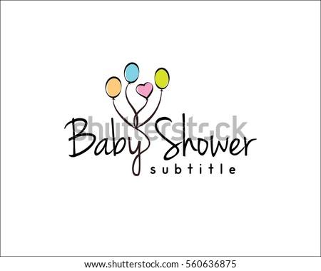 Baby Shower Logo Illustration Balloons Stock Illustration 560636875