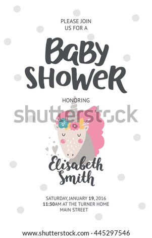 shower poster baby shower card with cute unicorn and hand drawn font