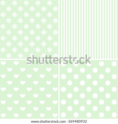 Baby shower: set of vector green backgrounds. - stock photo