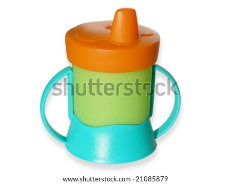 Baby sippy isolated on white background - stock photo