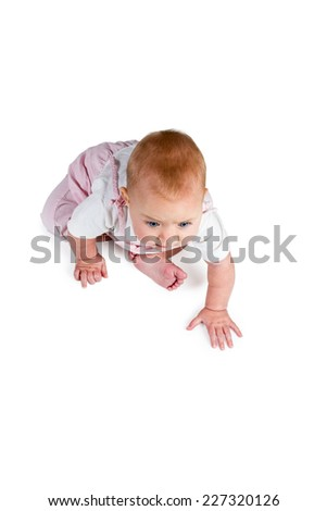 Baby sitting on the floor and prepared to crawl isolated on white background