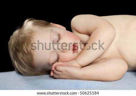 Baby Sleeping with Black Background