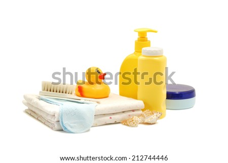 baby soap talcum powder cream rubber duck and other bathroom accessories