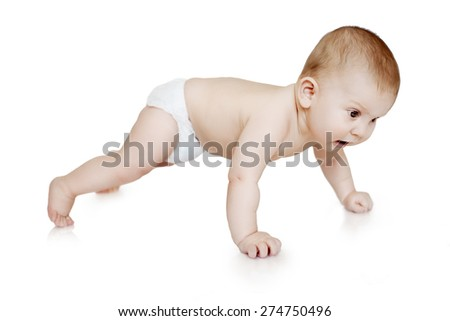 Baby sports. Child making push ups. Kid is engaged in fitness on a white background. Newborn doing exercises in the gym. lifestyle, training concept. - stock photo