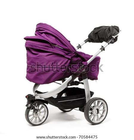 baby stroller isolated on white - stock photo