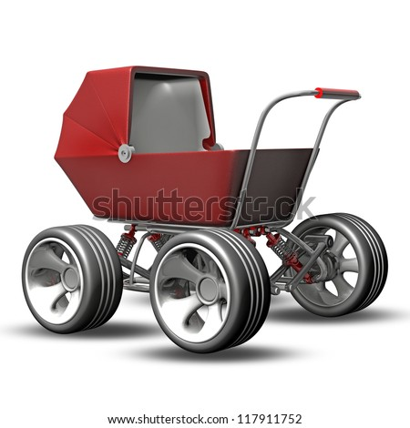 Baby super Carriage with big car wheel. CONCEPT. High resolution 3d render - stock photo