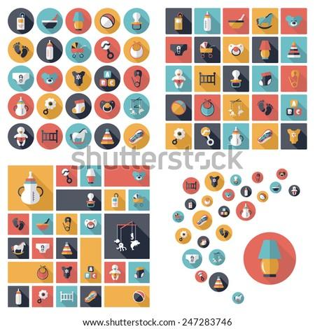 Baby symbols collection. Flat icons. Nursery Equipment - stock photo