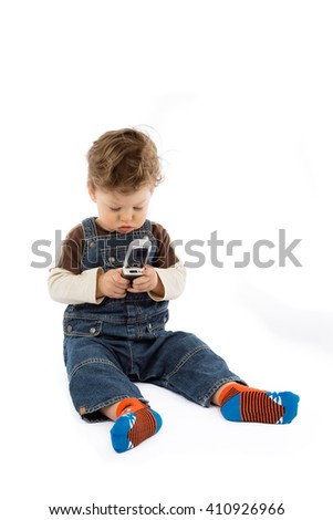 baby talks on mobile phone