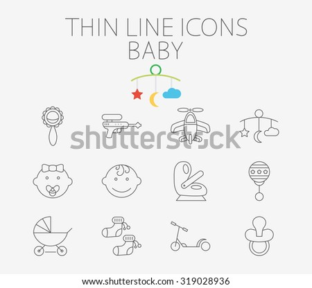 Baby thin line  icon set for web and mobile applications. Set includes - gun, car seat, nipple, airplane, rattle, crib toy, boy, baby girl, pram, socks, scooter. Pictogram, infographic element. - stock photo