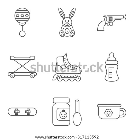 Baby thin line related  icon set for web and mobile applications. Set includes - rattle, rabbit, gun, walker, roller skateboard, feeding bottle, food, skateboard, potty.  - stock photo
