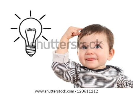 Baby thinking an idea with a bulb in a white isolated background - stock photo