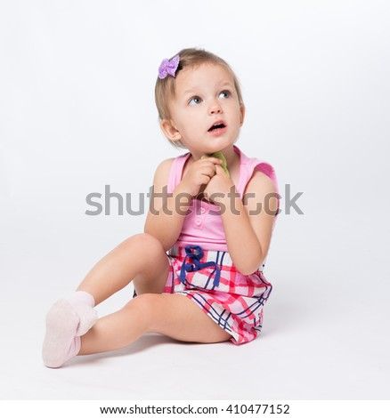 baby two years of age in the studio - stock photo