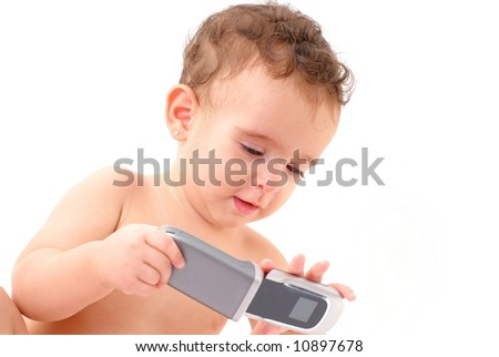 Baby using mobile telephone to call .