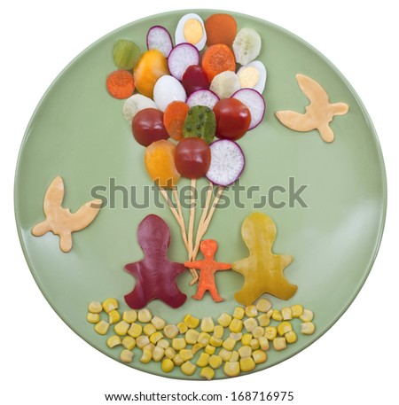 "Baby vegetable dish ""Happy family with balloons"""