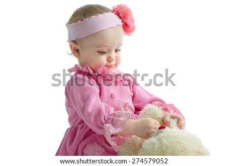 baby with a soft toy - stock photo