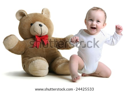baby with bear - stock photo