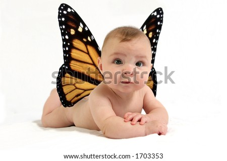 Baby with butterfly wings against white backdrop - stock photo