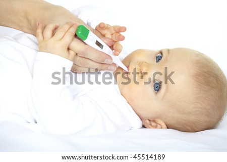 baby with clinical thermometer - stock photo
