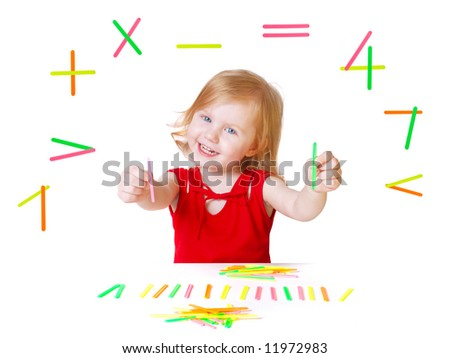 baby with mathematics toys - stock photo