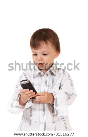 baby with mobile phone - stock photo