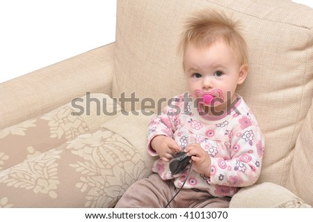 baby with pc mouse over white - stock photo