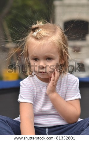 baby with static electric hair - stock photo