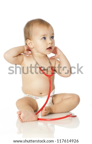 Baby with stethoscope - stock photo
