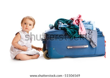 baby with suitcase - stock photo