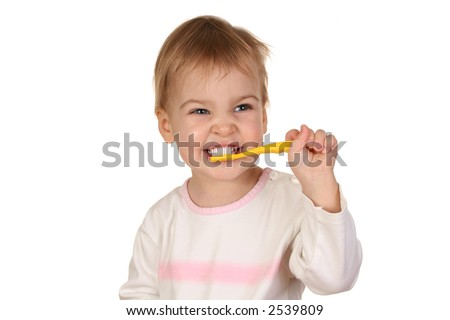 baby with tooth brush 2 - stock photo