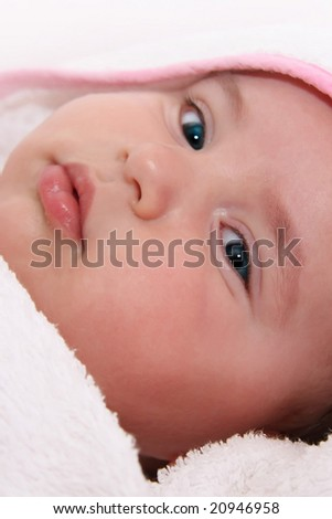 baby with towel - stock photo