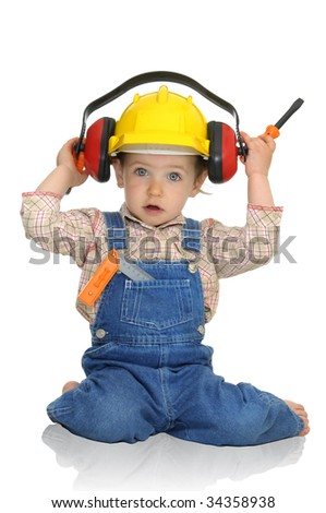 Baby worker with hat and tools isolated in white - stock photo