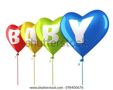Baby Writing Colorful heart balloons render (isolated on white and clipping path) - stock photo