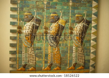 Babylonian archers, Assyrian mosaic tiles, museum in 		Berlin	Germany
