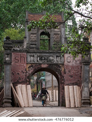 BAC GIANG, VIET NAM, July 13, 2016 Tho Ha old Village Gate, the city of Bac Giang, Vietnam