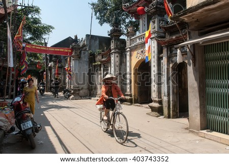 BAC GIANG, VIETNAM, February 16, 2016 Rural Women Bac Giang province, stroll the old town